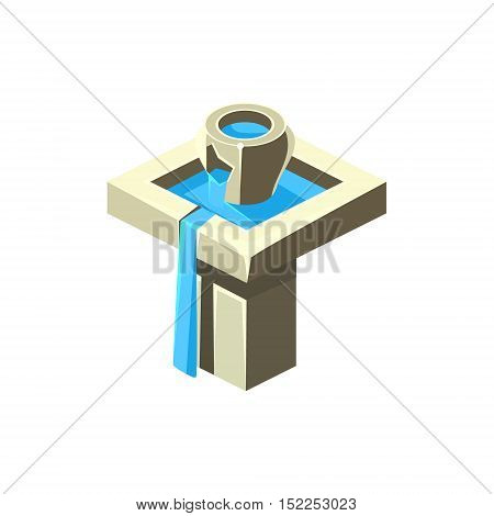 Two-Level Fountain Isometric Garden Landscaping Element. Video Game Landscape Constructor Item In Cute Colorful Design Isolated On White Background.