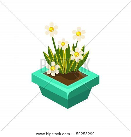 Pot With White Flowers Isometric Garden Landscaping Element. Video Game Landscape Constructor Item In Cute Colorful Design Isolated On White Background.