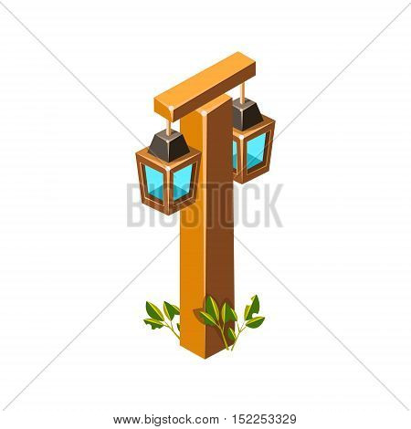 Post With Stylized Lantern Lamps Isometric Garden Landscaping Element. Video Game Landscape Constructor Item In Cute Colorful Design Isolated On White Background.