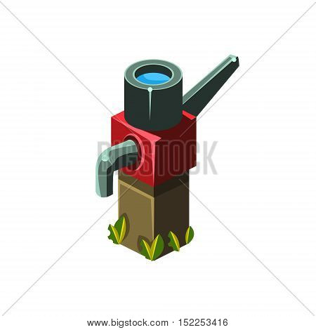 Vintage Water Pump Isometric Garden Landscaping Element. Video Game Landscape Constructor Item In Cute Colorful Design Isolated On White Background.