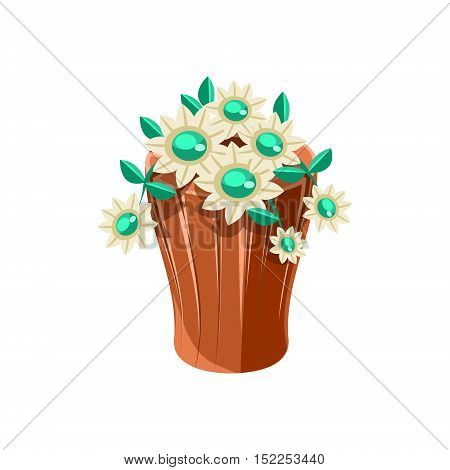 Vase With Flowers Isometric Garden Landscaping Element. Video Game Landscape Constructor Item In Cute Colorful Design Isolated On White Background.