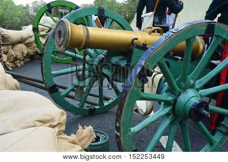 Historical reconstruction with cannons of war 1812