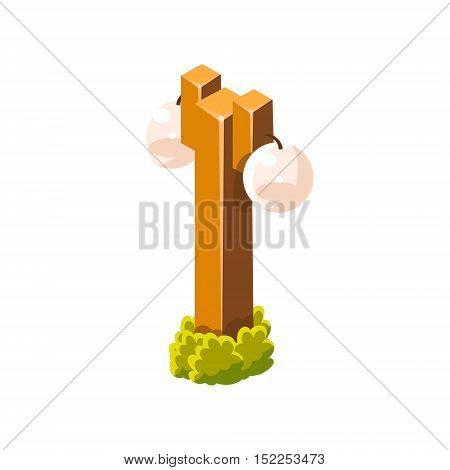 Post With Two Round Lamps Isometric Garden Landscaping Element. Video Game Landscape Constructor Item In Cute Colorful Design Isolated On White Background.