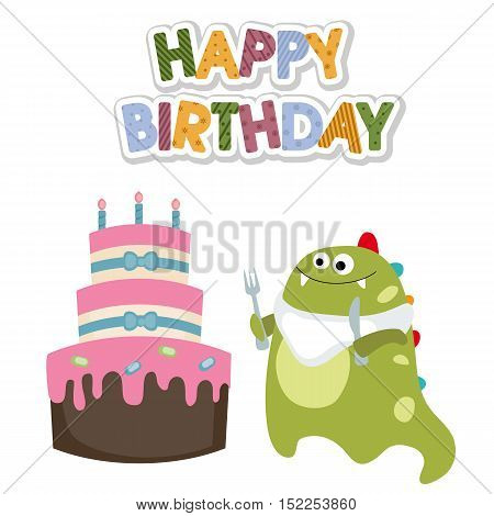 Happy birthday card with funny dinosaur and cake
