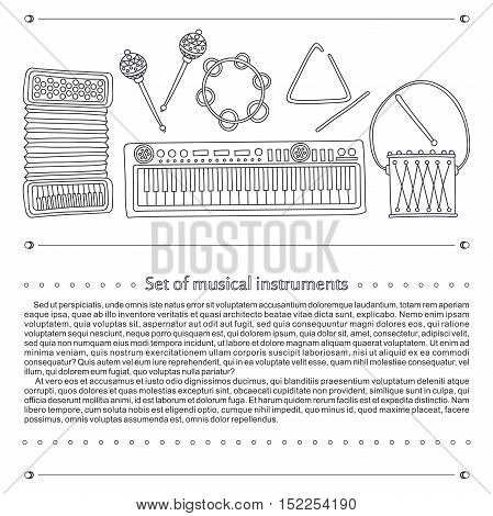 Vector illustration. Set of musical instruments on a textural background. Drums, treugodbnik, guitar, violin, headphones, accordion, maracas, synthesizer. Stylized musical instruments.