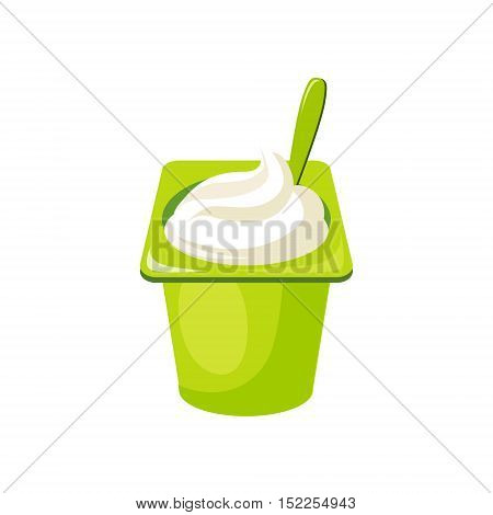Plain Yogurt, Milk Based Product Isolated Icon. Simple Realistic Flat Vector Colorful Drawing On White Background.