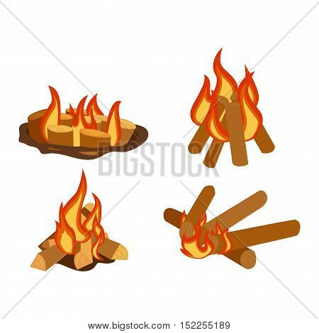 Isolated illustration of campfires logs burning bonfires. Bonfires on white background. Vector bonfire isolated and wood explosion glowing bonfire isolated. Red nature burning blazing power vector.