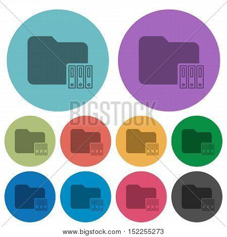 Color organize folder flat icon set on round background.