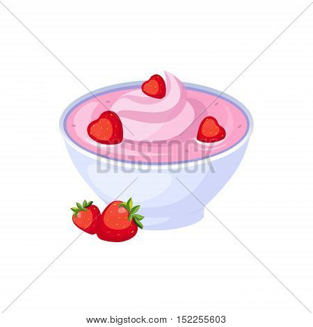 Strawberry Yogurt, Milk Based Product Isolated Icon. Simple Realistic Flat Vector Colorful Drawing On White Background.