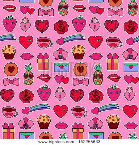Romantic seamless pattern with hearts, flowers and love objects. Fashion patches. Pin badges set. Stickers collection. Appliques for denim or clothes.