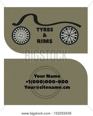 business card with the logo image of tyres and rims