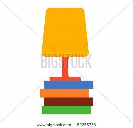 illustration of Lamp. Vector cartoon table lamp design. Cartoon lamp table object electricity art. Illumination switch shiny cartoon lamp.