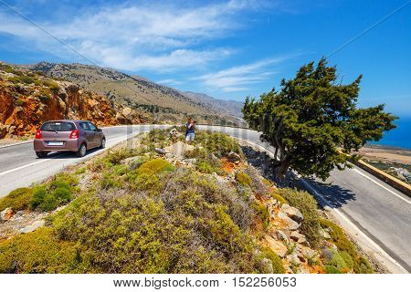 curvy road near Chora Sfakion town on Crete Greece