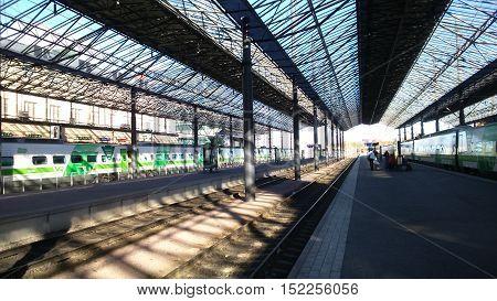 Railway station in Helsinki. The station is beautiful.