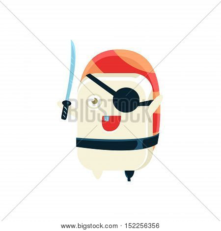 Pirate Funny Maki Sushi Character. Silly Childish Drawing Isolated On White Background. Funny Creature Colorful Vector Sticker.