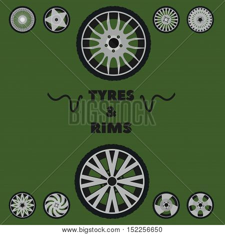 tyres and rims logo, vector illustration on a green background
