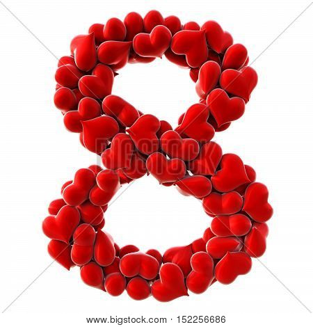 Numbers made from red hearts. isolated on white. 3D illustration.