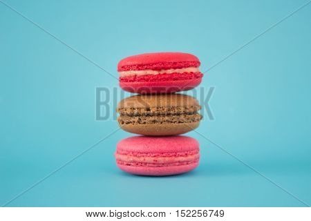 Colorful Macaroon or macaron french sweet dessert