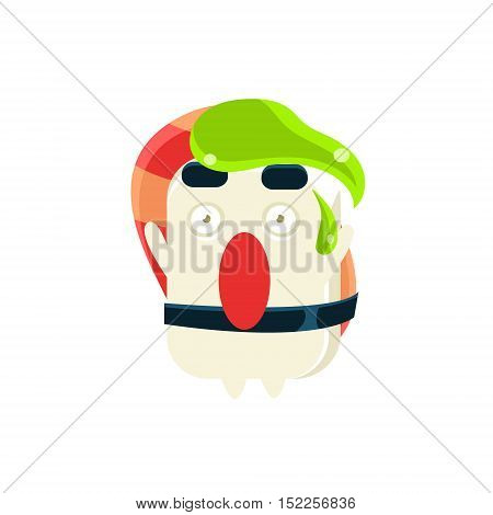 Funny Maki Sushi Character With Wasabi Drop On the Head. Silly Childish Drawing Isolated On White Background. Funny Creature Colorful Vector Sticker.