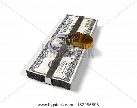 isolated on a white background 3d render pack dollars closed lock, the concept of the safe storage of funds,