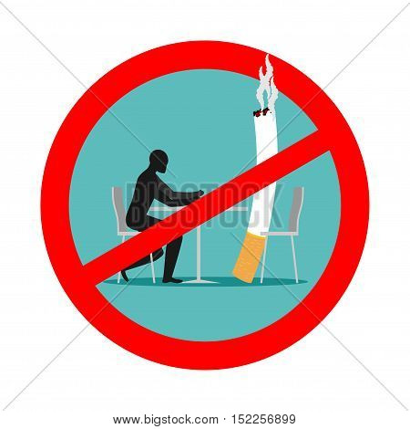 Forbidden To Smoke In Cafes. Ban Smoking. Red Sign And Crossed Cigarette And Smoker