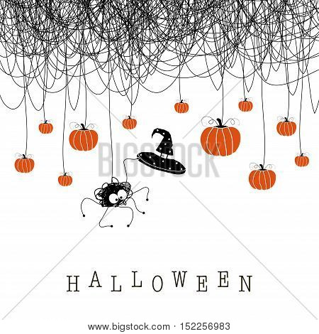 The image for Halloween. The depicts a spider web, a spider with witches hat and orange pumpkins of different sizes. The phrase of Halloween.