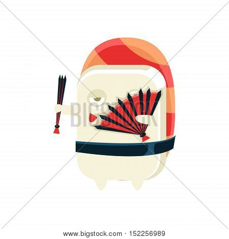 Funny Maki Sushi Character Dancing With Fans. Silly Childish Drawing Isolated On White Background. Funny Creature Colorful Vector Sticker.