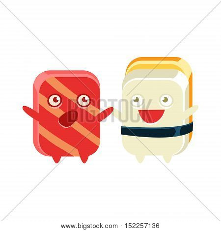 Funny Maki Sushi Character Friends Talking. Silly Childish Drawing Isolated On White Background. Funny Creature Colorful Vector Sticker.