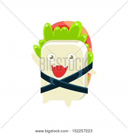 Baby Funny Maki Sushi Character. Silly Childish Drawing Isolated On White Background. Funny Creature Colorful Vector Sticker.