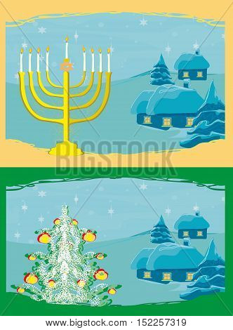 Pair of Happy Holidays! cards with Christmas tree and Channuka candles , vector illustration