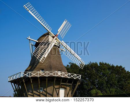 Traditional old Danish windmill in the countryside Funen Denmark