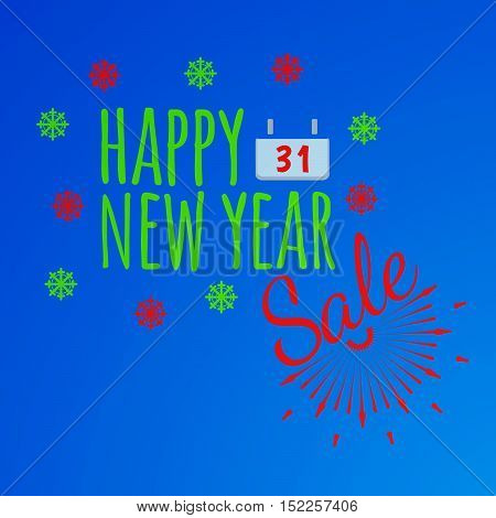 Happy New Year Banner And Giftcard. Xmas Poster And New Year Sale Sign On Blue Background. Vector Il