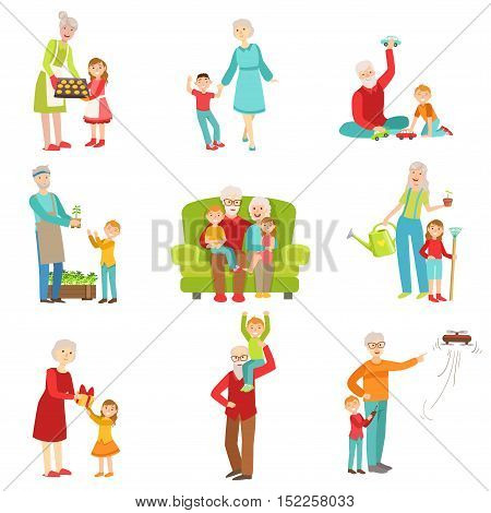 Grandparents And Kids Having Fun Together Set Of Drawings. Simple Bright Vector Illustrations Isolated On White Background.