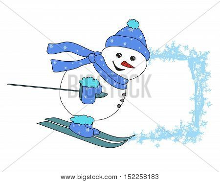 Christmas cartoon character frame - skiing snowman , vector illustration