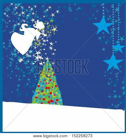Abstract Christmas card with angels , vector illustration