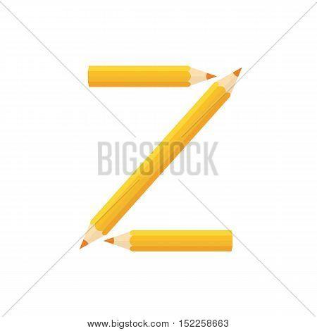 Color Wooden Pencils Concept By Rearrange The Letters Z