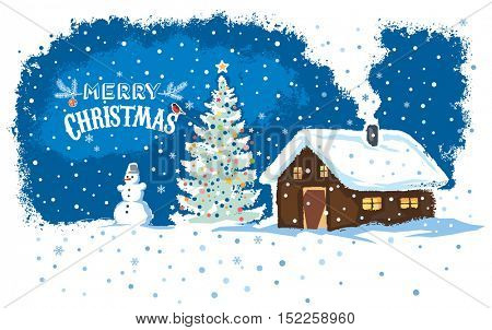 Winter countryside landscape with a house, snowman, Christmas tree, holiday card.