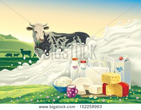 Cow, and splash of milk and set of dairy products: cheese, milk, yogurt, against the background of a rural landscape. Vector illustration.