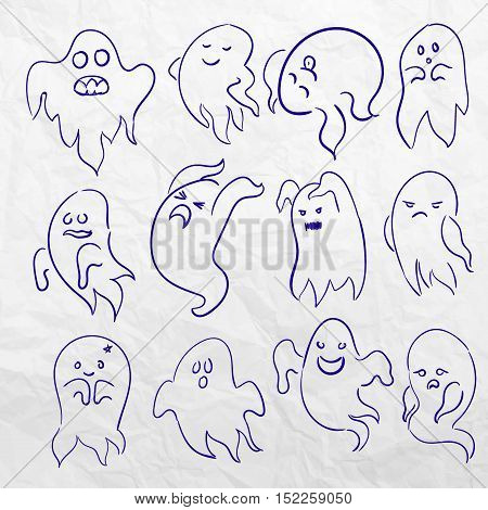 Cartoon spooky sketchy Ghost character vector set. Holiday monster design. Costume evil silhouette Helloween night symbol