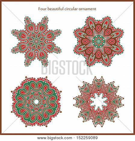 Big set of bright color and vintage circular ornaments. Mandala. Vintage decorative elements. Islam, Arabic, Indian, ottoman motifs. Set of beautiful ethnic, oriental ornaments. Stylized flowers.