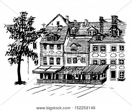 background cityscape views of the beautiful old houses with cafes of the Old Town in Riga, Latvia, sketch hand drawn vector illustration