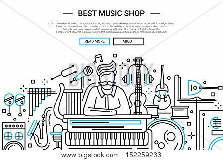 Illustration of vector modern plain line flat design website banner, header with a seller in a shop of music instruments