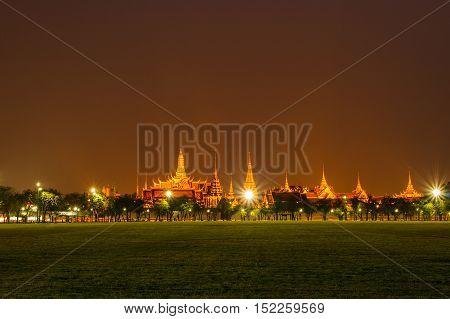 bangkok landmark grand palace and the temple of the Emerald Buddha the Pramane Ground at night