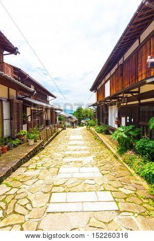 Nakasendo Magome Wooden Houses Lining Stone Path V
