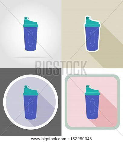 shaker bottle for fitness flat icons vector illustration isolated on background