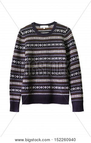 Wool knitted purple sweater isolated over white