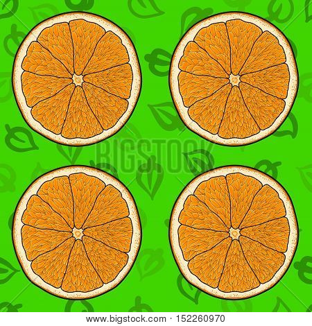 Cartoon orange with green leaves backdrop seamless vector pattern. Fresh and juicy.