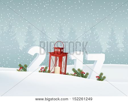 Happy new year 2017. White winter landscape with forest numbers falling snow. Christmas decoration with fir branches red lantern and berries. Vector illustration background..