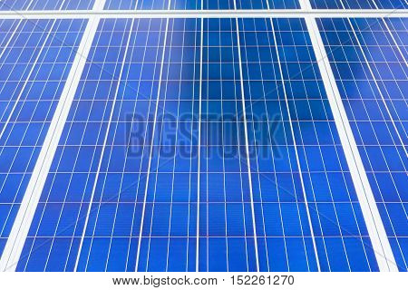 Background with Solar panels in solar farm station clean energy from sunlight