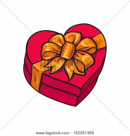 Red hand-drawn heart-shaped gift box with bow and ribbon, sketch style vector illustration isolated on white background. Xmas, birthday, Valentine present, gift, surprise, decoration element